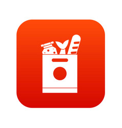 grocery bag with food icon digital red vector image