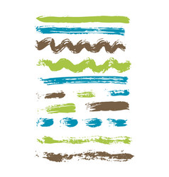 Grunge brush stroke spot ink set vector