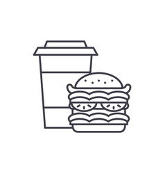 hamburger and coffee line icon concept hamburger vector image
