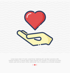 hand holding heart thin line icon vector image