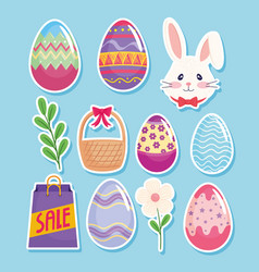 Happy easter season card with eggs painted and set vector