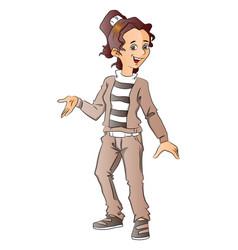happy teen girl gesturing vector image