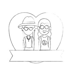 Hippie cute couple cartoon vector