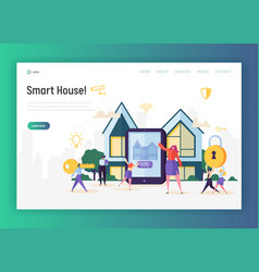 Home automation system landing page smart house vector
