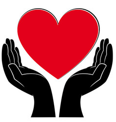 human hands holding a heart vector image