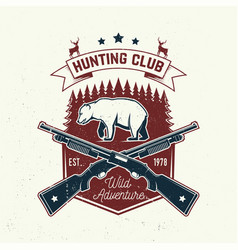 Hunting club concept for shirt label vector
