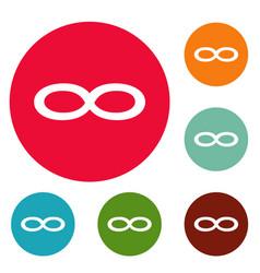 Infinity symbol icons circle set vector
