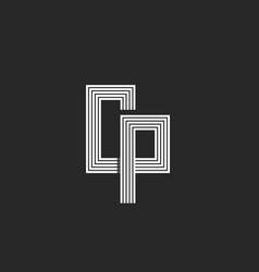 Initials cp or pc creative letter logo monogram vector