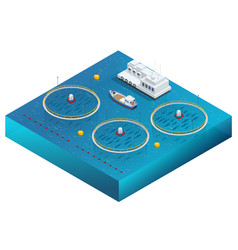 Isometric fish farm producing trout and salmon vector