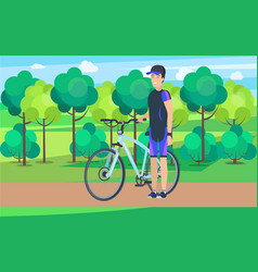 Joyful athlete on track with bicycle vector