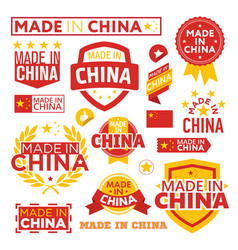 Labels made in china vector