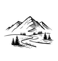 Landscape with large mountains nature sketch vector