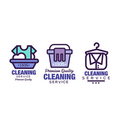 Laundry cleaning service logo template with vector