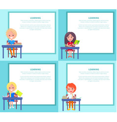 learning banners set with children sitting at vector image