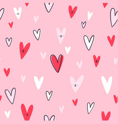 lovely hearts seamless pattern vector image