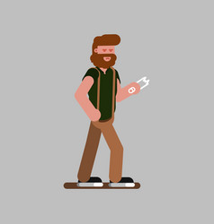 man with a broken glass bottle vector image