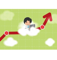 Man Work Cloud Stock Market vector image