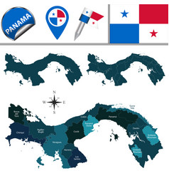 Map of panama with named provinces and comarcas vector