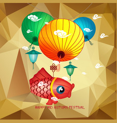 Mid autumn festival polygonal background with vector