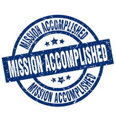 Mission accomplished blue round grunge stamp vector