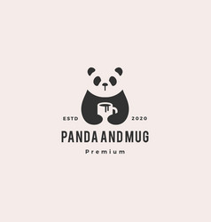 panda coffee mug logo vintage hipster retro icon vector image