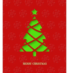Paper cut Christmas tree vector image