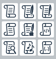paper scroll icon set in glyph style vector image