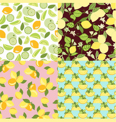 patterns with lime lemon slices and lemon leaves vector image
