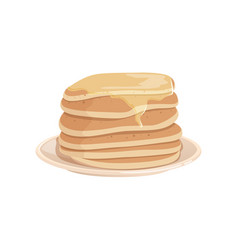 pile of delicious pancakes topped with honey or vector image