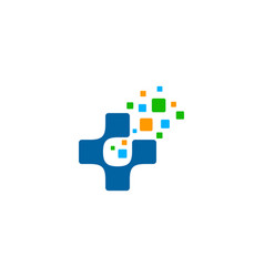 pixel medical logo icon design vector image