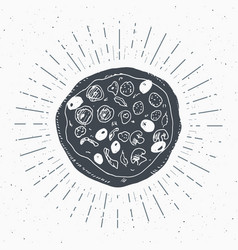 pizza vintage label hand drawn sketch grunge vector image