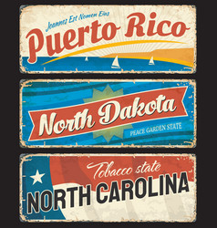 Puerto rico north dakota and north carolina plate vector