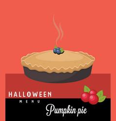 Pumpkin pie halloween menu vector