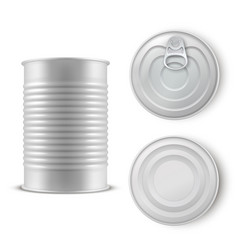 Realistic gray tin can set metal template vector