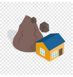 Rockfall destroys house isometric icon vector