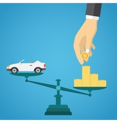 Scales with car and gold coins vector