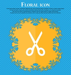 Scissors icon sign Floral flat design on a blue vector image