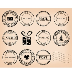 set - black grungy post stamps vector image