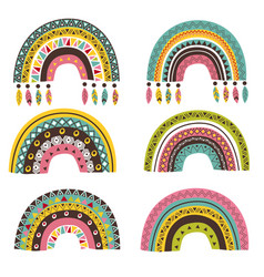 set isolated tribal rainbow part 2 vector image
