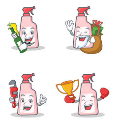 set of cleaner character with beer gift plumber vector image