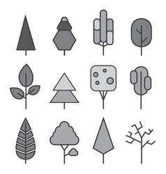 set of line trees forest creative icons vector image