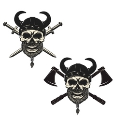 Set of skulls in viking helmets with crossed vector