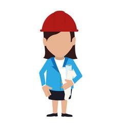 silhouette woman engineer with helmet vector image