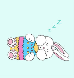 sleeping easter bunny with egg vector image