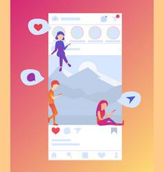 social media screen vector image