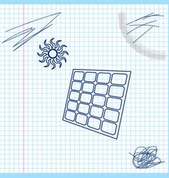 Solar energy panel and sun line sketch icon vector