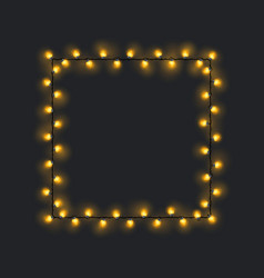 Square yellow glowing garland vector