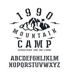 Stencil plate slab serif font in sport style vector