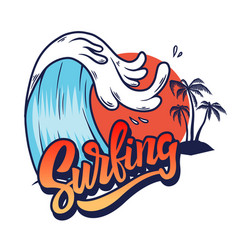 surfing sea wave with lettering design element vector image