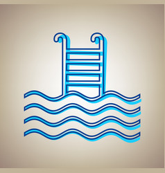 Swimming pool sign sky blue icon with vector